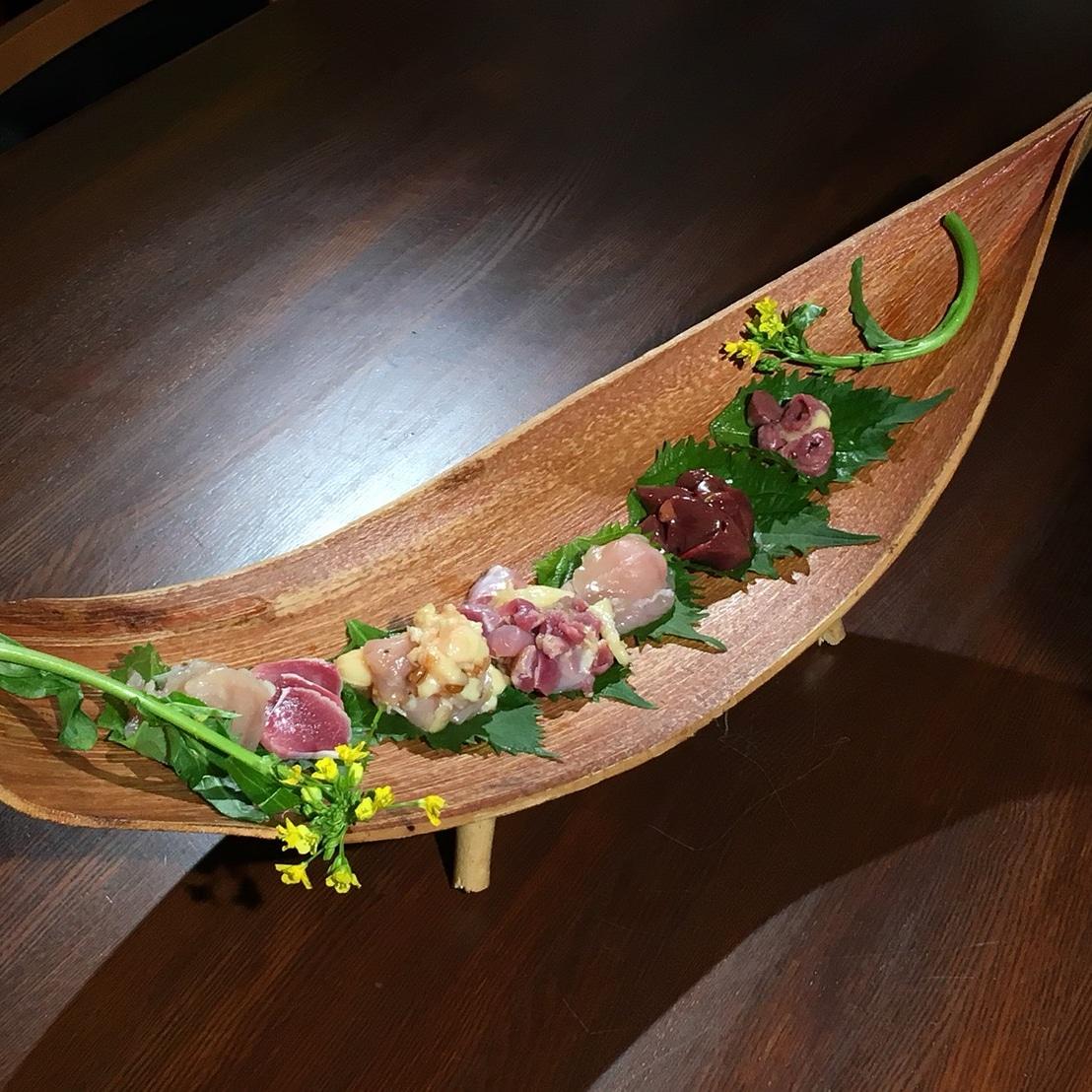 宮崎地鶏の刺身と日本酒のペアリング